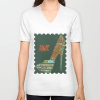 dance V-neck T-shirts featuring Dance by DagmarMarina
