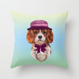 Drawing dog breed Cavalier King Charles Spaniel Throw Pillow