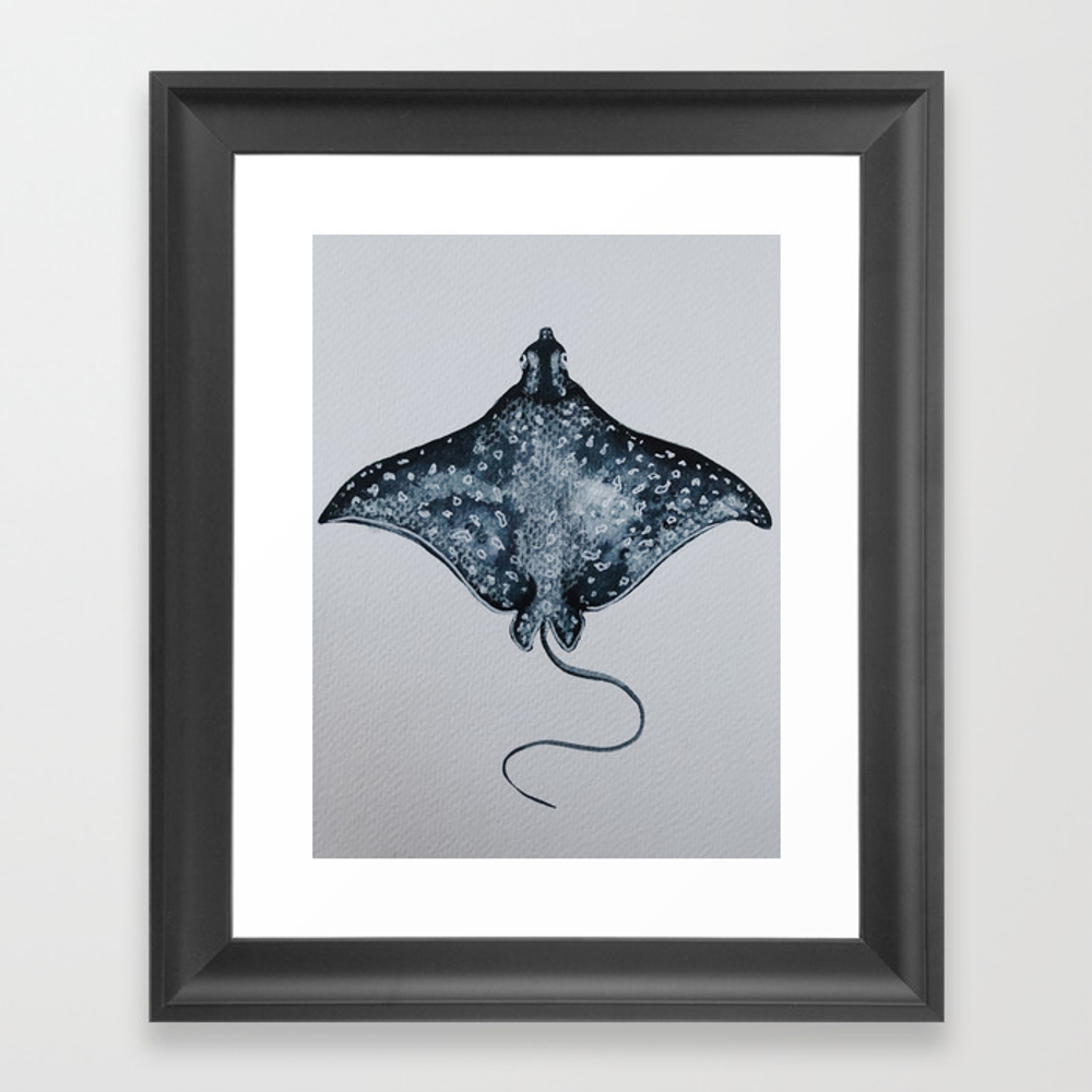 Blue Manta Ray Framed Art Print by Esblackmoore FRM8841478