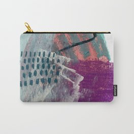 Pheonix: a bright abstractmixed media piece in pink, purple, blue, and white Carry-All Pouch