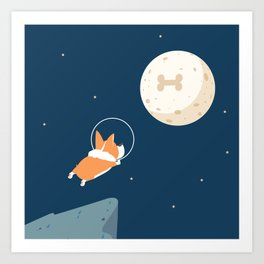 Fly to the moon _ navy blue version Art Print