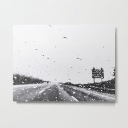 on the road in the rainy day in black and white Metal Print