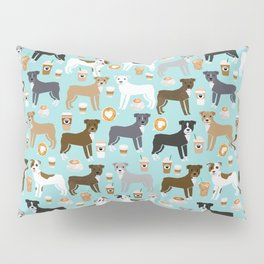 Pitbull coffee dog breed pet art pibble lovers rescue dogs pitbulls Pillow Sham