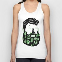 cactus Tank Tops featuring Cactus Beard Dude by David Penela