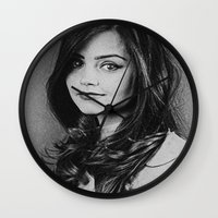 jenna kutcher Wall Clocks featuring  Dedication Artwork: Jenna Coleman (2 of 2) by InnerSymbiance
