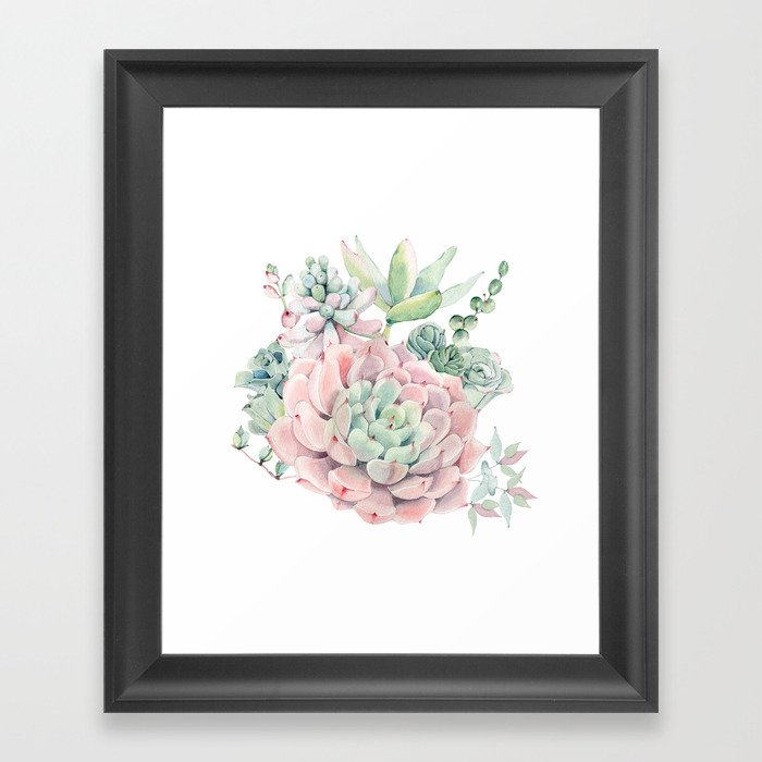 Pink Succulents by Nature Magick Framed Art Print