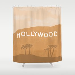Hollywood Sign Sepia Neutral Shower Curtain