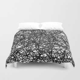 Angry Scribbles - Black and white, abstract, black ink scribbles pattern Duvet Cover