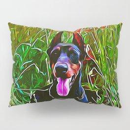 doberman dog red flowers meadow vector art Pillow Sham