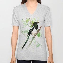 Magpie Bird, magpie Unisex V-Neck