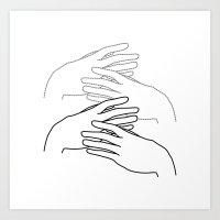 caressing hands Art Print