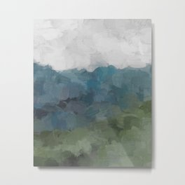 Gray Blue Navy Indigo Sage Leafy Green Sky Forest Abstract Painting, Modern Wall Art, Portrait Metal Print