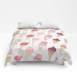 Watercolor Ice Cream Cones Comforters