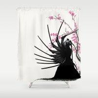 samurai Shower Curtains featuring samurai by tshirtsz