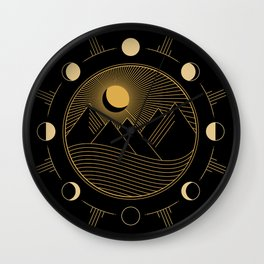 Lunar Phases With Mountains Wall Clock