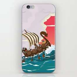 Viking Invasion fleet in the evening sunset iPhone Skin