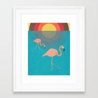 flamingos Framed Art Prints featuring Flamingos by Simon Alenius
