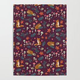 Fox and Hedgehog in Toadstool Wood In Red Poster