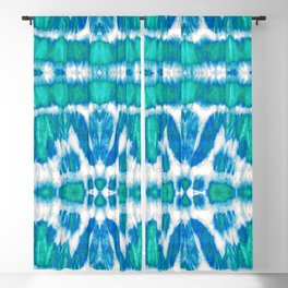 Tie-Dye Twos Aqua Blackout Curtain
