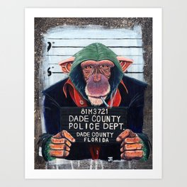 Monkey mugshot Art Print