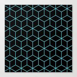 3-D Cube Pattern (Aqua on Black) Canvas Print