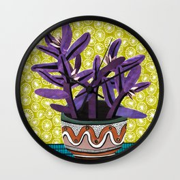 Purple Heart Collage by Veronique de Jong Wall Clock