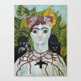 Frida the cat: Self-Portrait with Thorn Necklace and Hummingbird Canvas Print