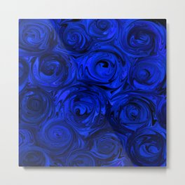 China Blue Rose Abstract Metal Print