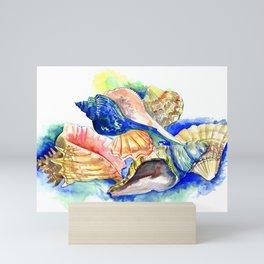 Beach design, Seashell, ocean beach seashell artwork, beach house Mini Art Print