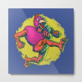 Cluckasaurus Must Be Off His Meds Again Metal Print