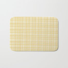 Fine Weave Retro Modern Mid-Century Pattern in Mustard Yellow and White Bath Mat