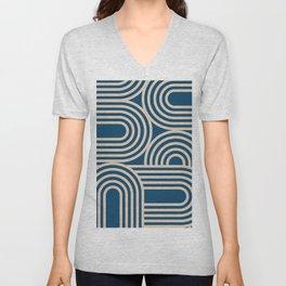 Abstraction_WAVE_GRAPHIC_VISUAL_ART_Minimalism_001 Unisex V-Neck
