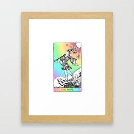 0. The Fool- Pastel Rainbow Tarot Framed Art Print