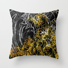 psychedelic sketching line pattern abstract in yellow black and white Throw Pillow