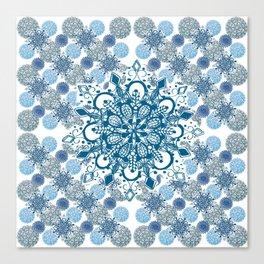 Blue Rhapsody Patterned Mandalas Canvas Print