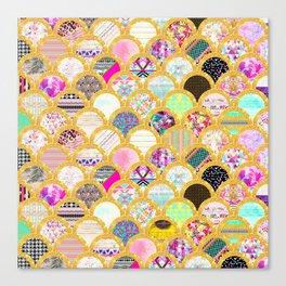Modern Scallop Pattern Trendy Girly Gold Glitter Canvas Print