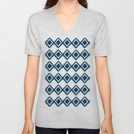 Geometrical navy blue watercolor hand painted diamonds Unisex V-Neck