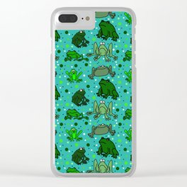 Cartoon Frogs Clear iPhone Case