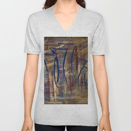 city lights laid out before us Unisex V-Neck
