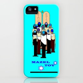 A Bar Mitzvah Design with Blue Background iPhone Case