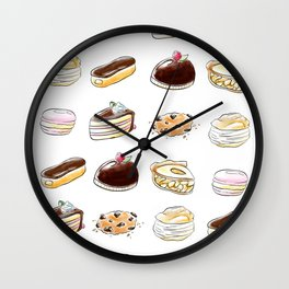 Watercolor Desserts pattern Wall Clock