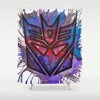 transformers Shower Curtains featuring Transformers Decepticon ColorSplash by Brietron Art