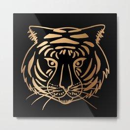 Gold and Black Tiger Metal Print