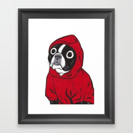 Red Hoodie Boston Terrier Framed Art Print