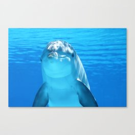 Cute Dolphin Marine Animal in Blue Sea Canvas Print