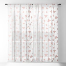 Rose Gold On White Foil Paint Line Dots Stripes Design XII Sheer Curtain