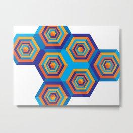 Orange and Blue Hexagones Metal Print