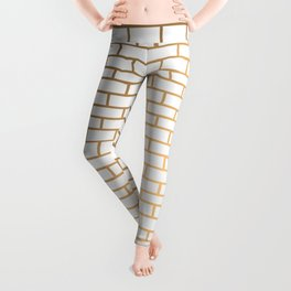 Light and gold brick wall pattern. Leggings