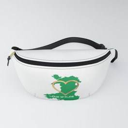 Love Wales Map Silhouette Heart Fanny Pack