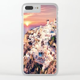 Santorini Sunset View Clear iPhone Case
